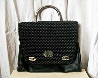 "SALE Vintage 80s ""Black Bubbles"" handbag / satchel with metal handle"