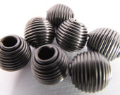 12 Vintage 11mm Oval Gunmetal Coiled Wire Beads Mt232