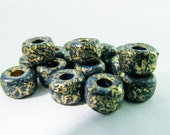 40 Vintage 9mm Dark Teal Blue and Matte Gold Round Spacers Beads Bd681