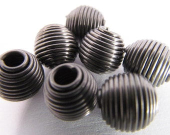 20 Vintage 8mm Oval Gunmetal Coiled Wire Beads Mt127