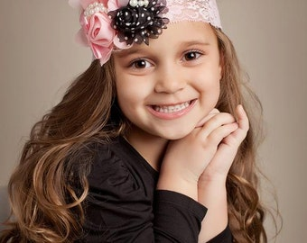 Pretty in Paris Pink and Black Headband, Lace Headband, Girls Headband, Baby Headband, Adult Headband