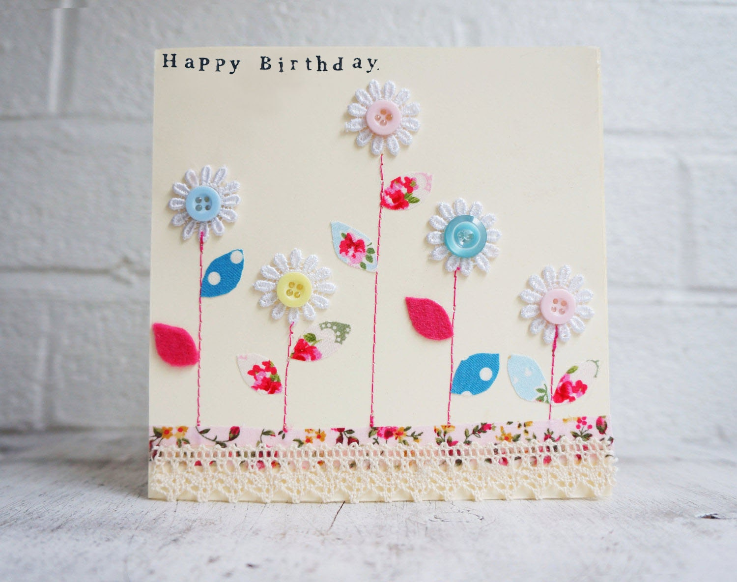 happy birthday card with buttons and flowers handmade