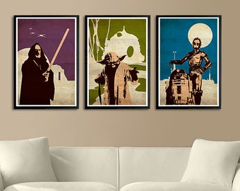 Vintage Pop Art Star Wars Series A - Obi-Wan Kenobi, R2-D2, C-3PO