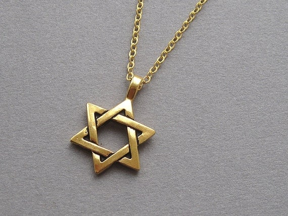 Star of david necklace antiqued gold magen david by sevenstarz for Star of david necklace mens jewelry