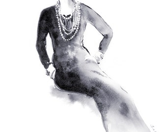 Coco Chanel Black and White Watercolor Painting Illustration Print