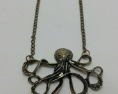 Vintage Style Octopus Charm Necklace-Steam Punk,  Brass Necklace, Retro-Women or Girls-Long Trendy Necklace-Cephalopod