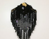 Black Fishnet Shawl with Fringes and Flowers - Scarf - Wrap - Women Teens Accessories