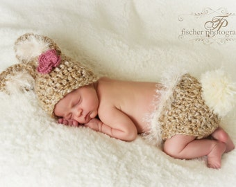 Baby Bunny Hat & Diaper Cover Soft Tones w/Big Fluffy Tail and  Flower Clip or Knitted Bow Tie Clip
