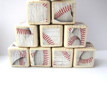 Baseball decoration. Sports theme nursery decor. Wooden Baby Blocks. Boy. Wood blocks for children. Baby shower decoration. New baby gift.