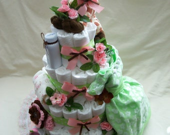 Baby Girl 4 tier Diaper cake - shown with upgraded dress and shoes - an adorable baby shower gift - made to order