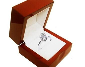 Fancy MAHOGANY / CHERRYWOOD engagement ring box keepsake display case Genuine wood white leather Bridal proposal  sc 1 st  Etsy & Super bowl ring box | Etsy Aboutintivar.Com