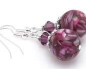 Purple Mother of Pearl Shell and Resin Mosaic Earrings on Surgical Steel Earwires