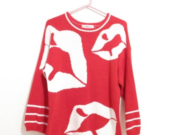 """Vintage """"Pucker Up"""" Cotton Red And White Kissable New Wave Graphic Lips Sweater, Size Small"""