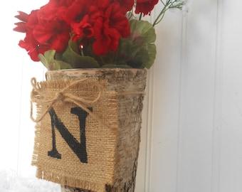 WEDDING, Birch Bark BURLAP monogrammed banner Vase bouquet, centerpiece, rustic style nature
