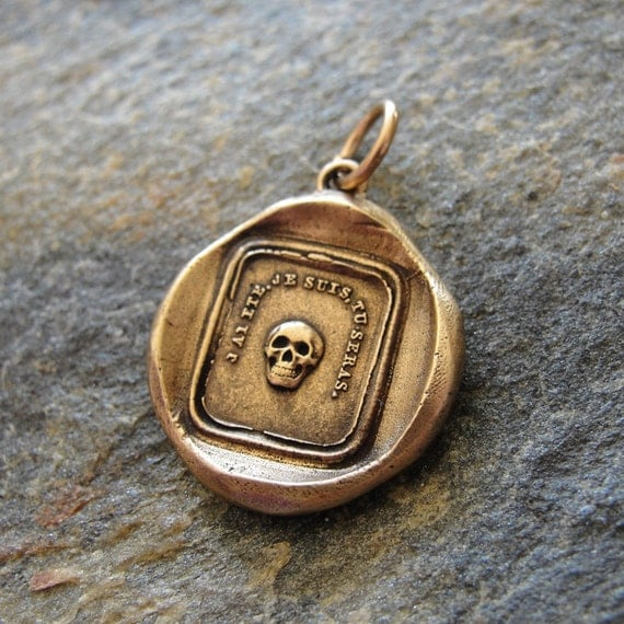 Skull wax seal pendant in bronze - antique French wax seal jewelry motto - Remember Your Mortality