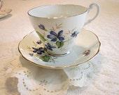 Royal Ascot Violet Tea cup and Saucer Vintage Royal Ascot Bone China made in England