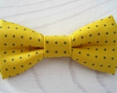 Bowtie for Newborn, Infant/Toddler, Youth - Mustard yellow and grey polka dot bowtie, wedding parties, birthday, photo prop, father/son sets