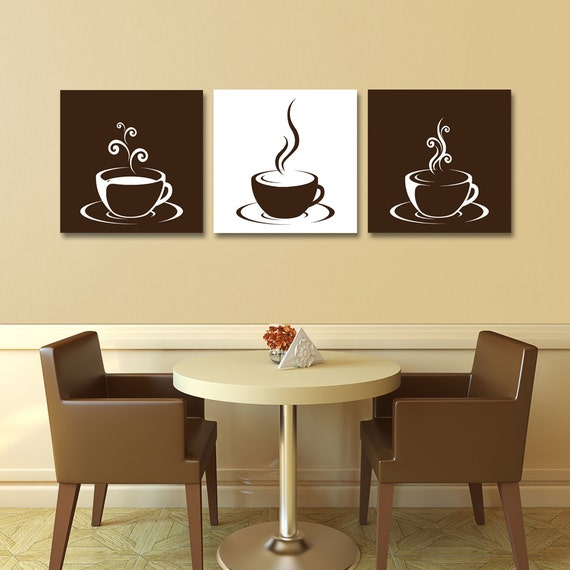 Set Of 3 Coffee Cup Canvas Wraps
