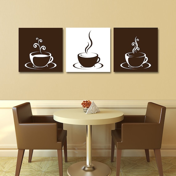 Set Of 3 Coffee Cup Canvas Wraps Espresso Art By AugustandElm