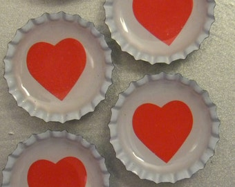 Hearts Bottlecap Magnet 6-Pack No. 11