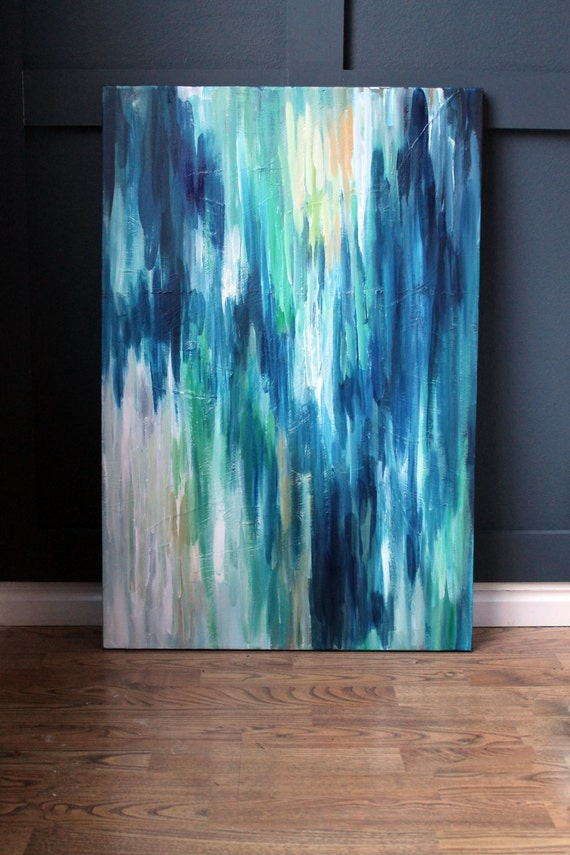 24x36 original abstract painting peacock iv for What do you paint first