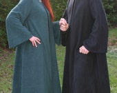 Legendary Hooded Elven Coat, Cloak with Sleeves - Celtic Clasp - XS, S, M, L, XL, XXL, 3XL, 4XL in Green, Brown, Red, Black & Plum