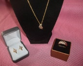 Fabulous Cubic Zirconia Pendant Necklace With Matching Pierced Earrings & Ring