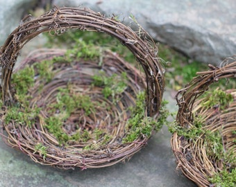 Flower Girl Basket Nest Rustic, Moss Twigs Of Grapevine,  Rustic Vintage, Shabby Chic Wedding
