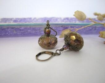 Czech Glass Drop - Dangle Earrings - Lumi Brown Puffy Rondelle