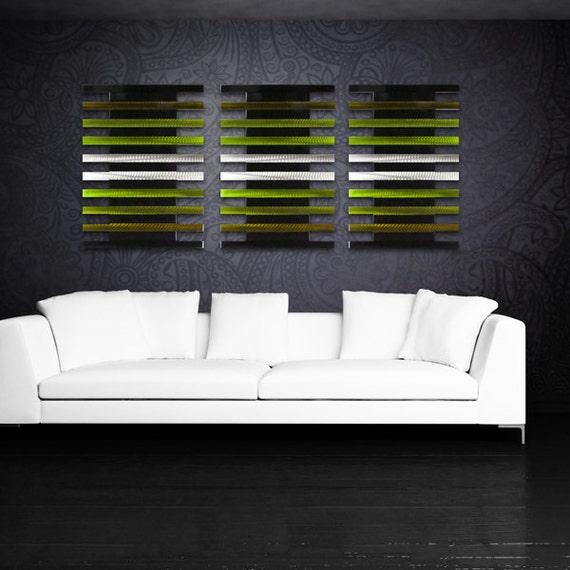 Metal Wall Art Decor Abstract Aluminum Contemporary Modern: Large Metal Wall Sculpture Modern Art Work Abstract Green