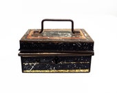 Antique Miniature Document Box, Metal Box with Key, Locking Box