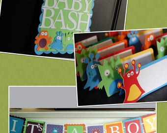 Monster Party Package, Monster Baby Shower, Its a Boy, Door Sign, Food Labels, Monster Party, Baby Bash