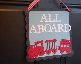 Train Door Sign, All Aboard, Train Party, Train Party Supplies, Choo Choo, Happy Birthday, Chugga Chugga Two Two