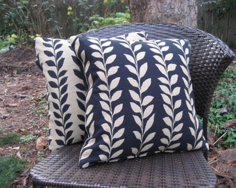 "Pillow Cover--16"" Black & Honey Vine Decorator Fabric, You choose."