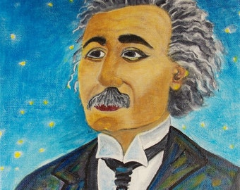 Albert Einstein Painting Young Albert Einstein Painting Portrait Painting Einstein painting Original Painting