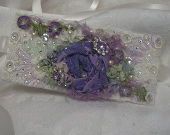 wedding bridal accessory jewelry bridal wrist cuff bracelet vintage lace purple lavender accents