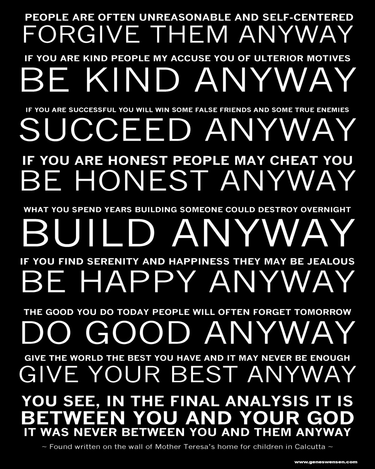 Mother Teresa's Do it Anyway Poem Available by ...