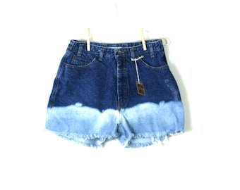 "Waist 30.5"" Bleached Ombre High Waisted Vintage Cutoff Shorts"