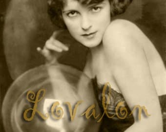Crystal Gazer... Deluxe Erotic Art Print... Vintage Art Deco Fashion Photo... Available In Various Sizes