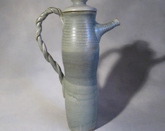 Tall, Vintage Studio Pottery Pitcher, Twisted handle, Lean, Teal, 13 inches tall