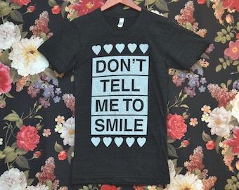 X-SMALL Don't Tell Me to Smile Anti Street Harassment Black Tri-Blend Shirt