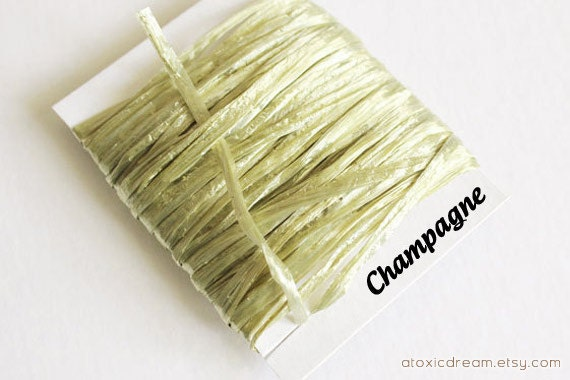 SALE Champagne Raffia Ribbon - 30/100 yards - 1/4 inch wide antique gold