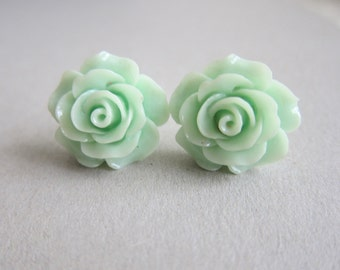 Mint Green Earrings Rose Floral Flower Stud Post Pastel Sea Foam Light Pale Green Romantic Wedding Bridesmaids Bridal