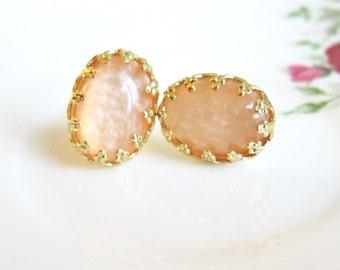 Peach Earrings Wedding Bridesmaid Earrings Gift Apricot Salmon Pink Orange Earrings Gold Plated Post Earrings Honey Cashmere Foundry