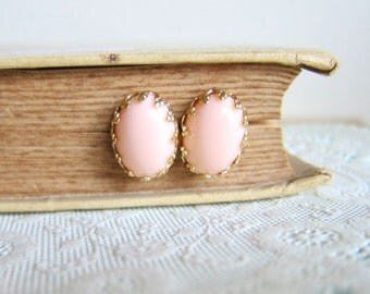Peach Wedding Earrings Pink Bridesmaids Gold Plated Post Studs Pale Pink Earrings Set Bridal Jewelry Bridesmaids Gift MS1