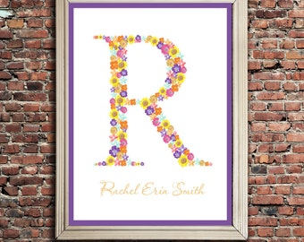 Children's Custom Monogram, Typography Art, 11x14 digital print
