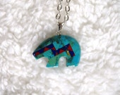 Turquoise Bear Pendant Necklace, Turquoise Coral and Lapis Bear Pendant Necklace, Navajo Made, Native American Made, Navajo Bear Jewelry