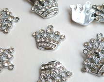 5 Rhinestone Royal Crown charms antique silver 20x21mm DB10355