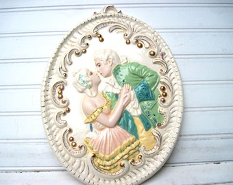 Vintage lovers French ceramic plaque wall art pink mint gold romantic boudoir decor