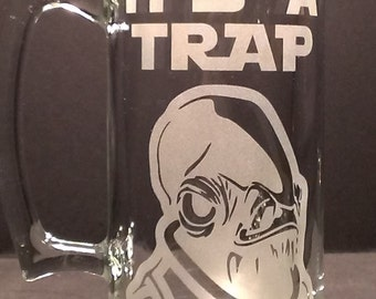 Star Wars Admiral Ackbar inspired Beer Mug Engraved/Etched Glass